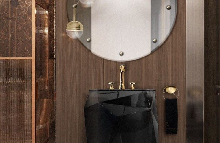 small bathroom Small Bathroom Designs: How to turn them into Luxurious and Spacious Oasis small luxury bathroom with diamond freestanding and blaze mirror 1 740x480