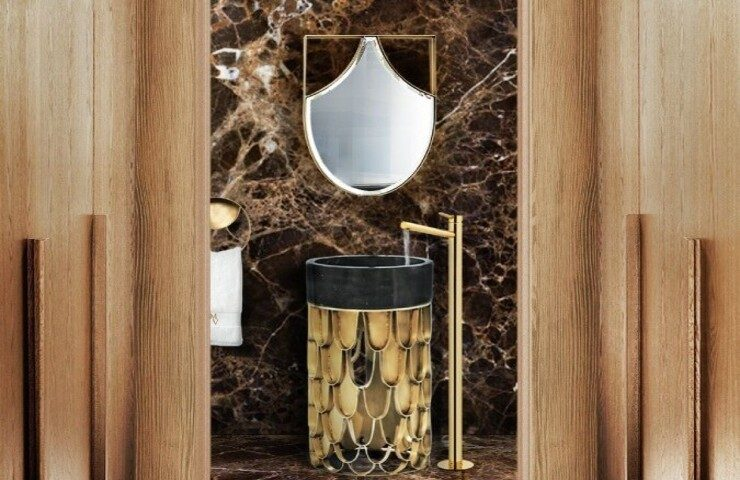 bathroom design Bathroom Design Blissfulness: Fall Trends to impress brown marble luxury guest bathroom with koi collection 1 1 740x480