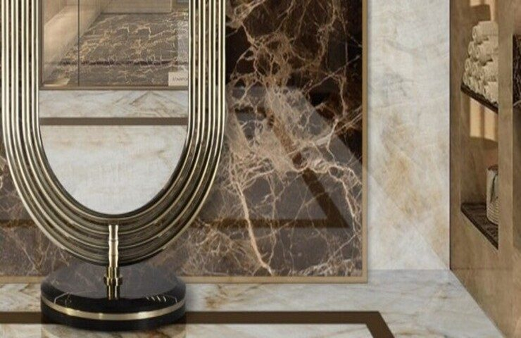 dressing room Start Preparing Your Dressing Rooms for the Fall Season fabulous colosseum mirror in a marvelous master bathroom 1 1 1 740x480