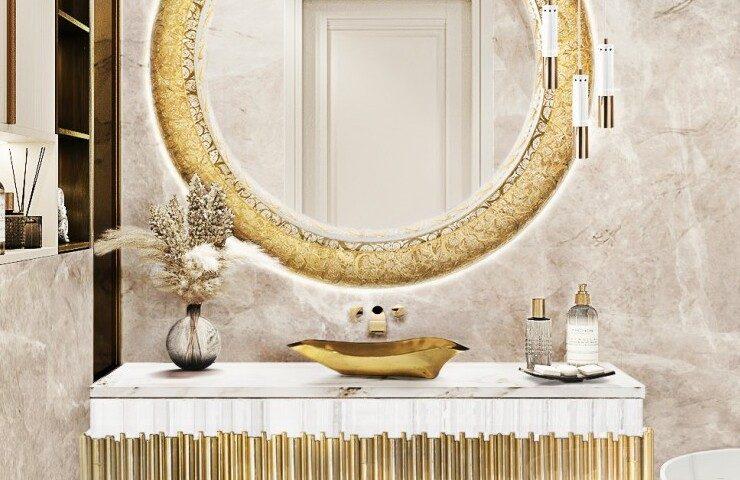 bathroom ideas Bathroom Ideas From Maison Valentina's Room By Room gold details master bathroom 1 1 740x480