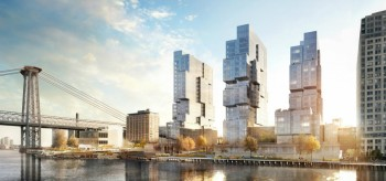 Trio of Modular Skyscrapers at Brooklyn Skyline by Eliot Spitzer