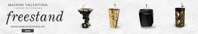 winter 2020, trends, Maison Valentina, interior design, bathroom, products, modern design, bathtub, armchair, stool, lamp, surface, tap, vessel sink, table,  winter 2020 Interior Design Trends for winter 2020: Discover what MV have for you Black and Gold Bathroom Design 5 Pieces to Support this Combo banner 1