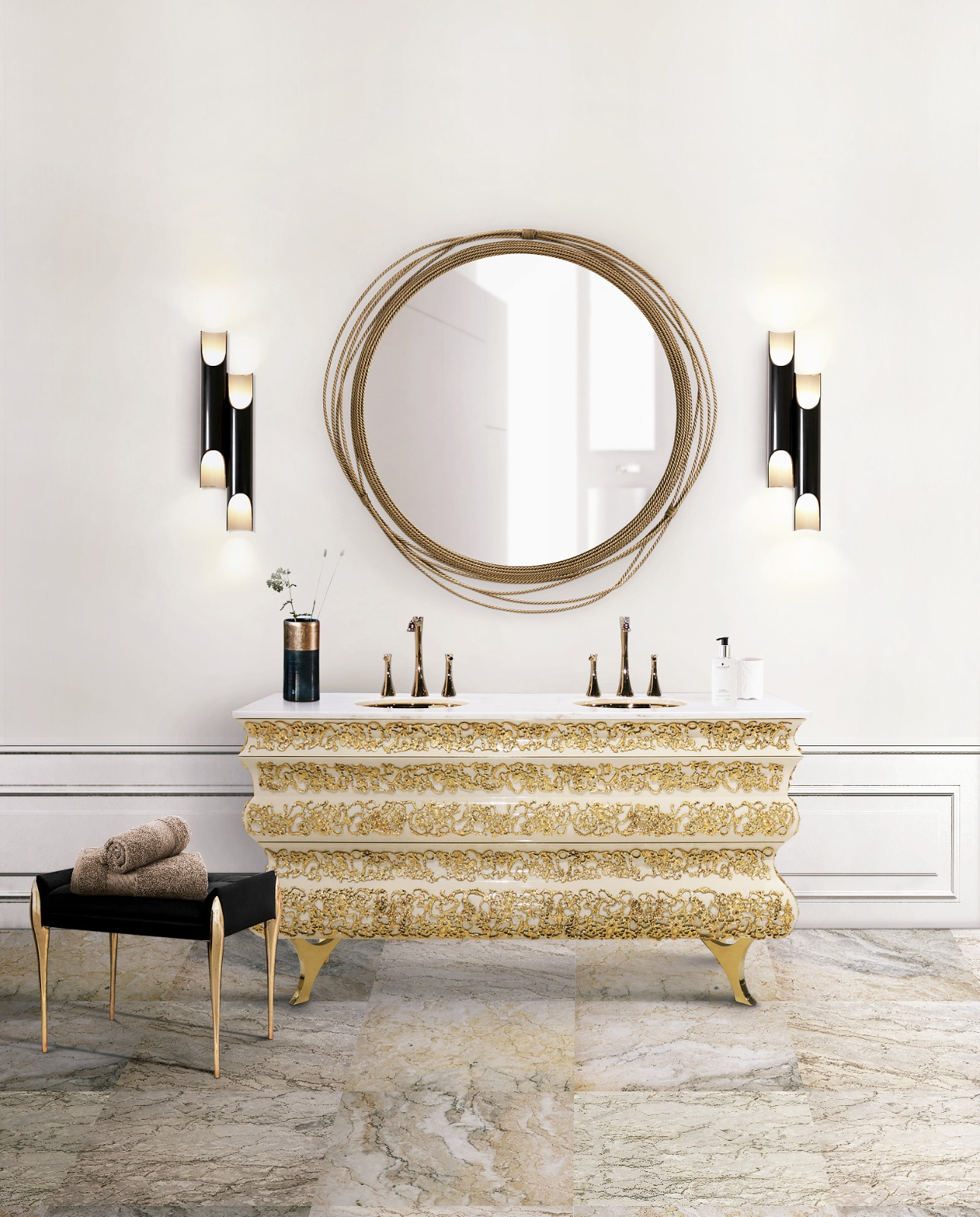 Luxury Washbasins: Products to Elevate your Bathroom Design luxury washbasins Luxury Washbasins: Products to Elevate your Bathroom Design 17 crochet washbasin galliano wall lamp maison valentina 1 HR