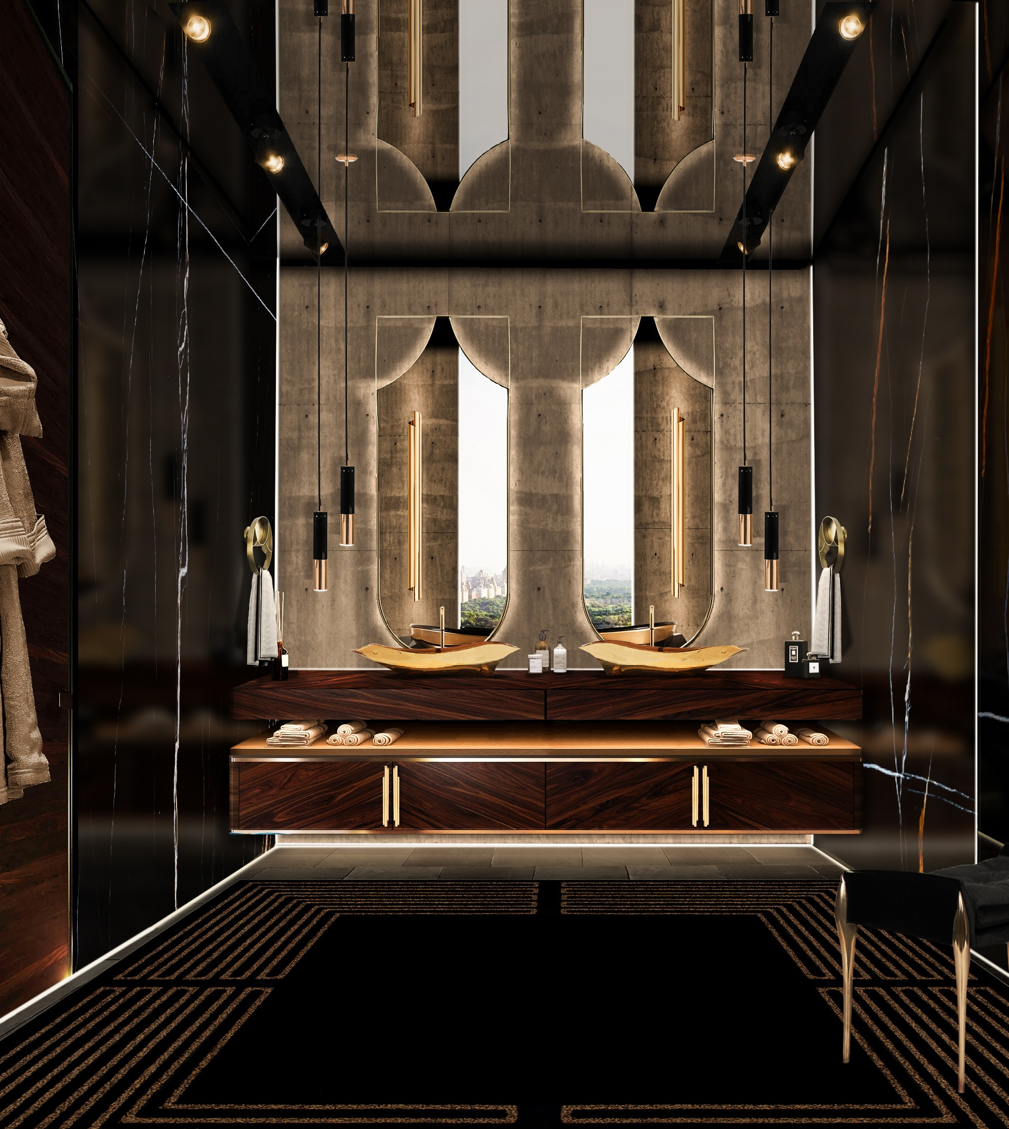 Double Sink Vanities double sink Double Sink Vanities dark and gold master bathroom with koi mirror and lapiaz vessel sink