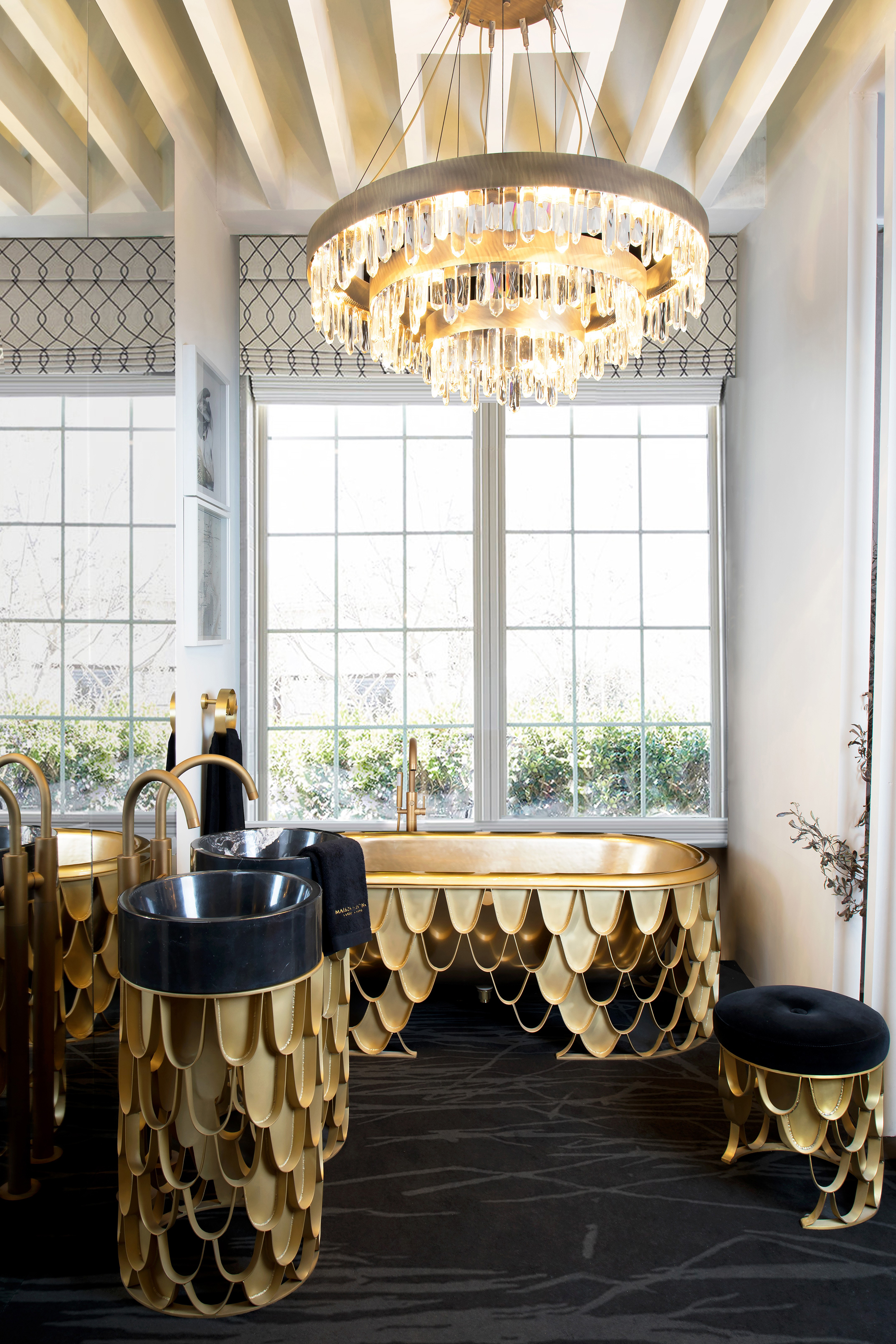 Decorating Bathroom with Golden Furniture Golden Furniture Decorating Bathroom with Golden Furniture golden guest bathroom decorated with koi pieces