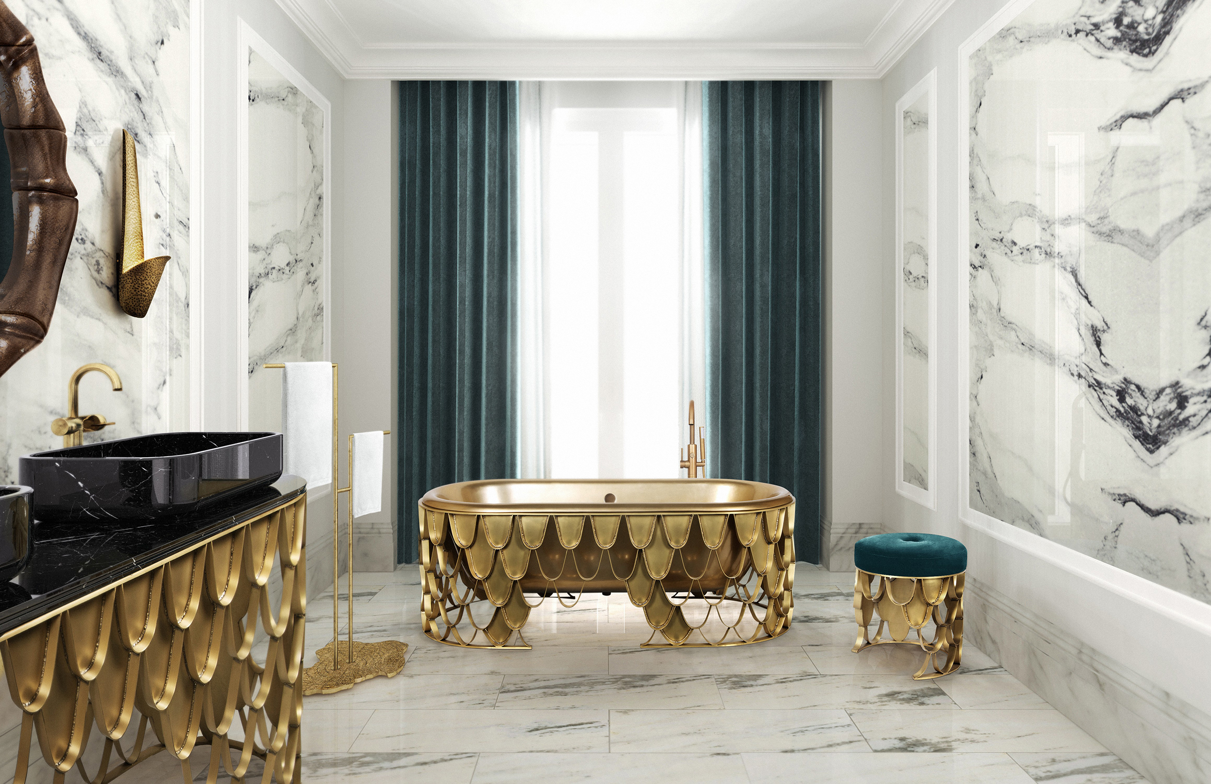 Decorating Bathroom with Golden Furniture Golden Furniture Decorating Bathroom with Golden Furniture koi collection