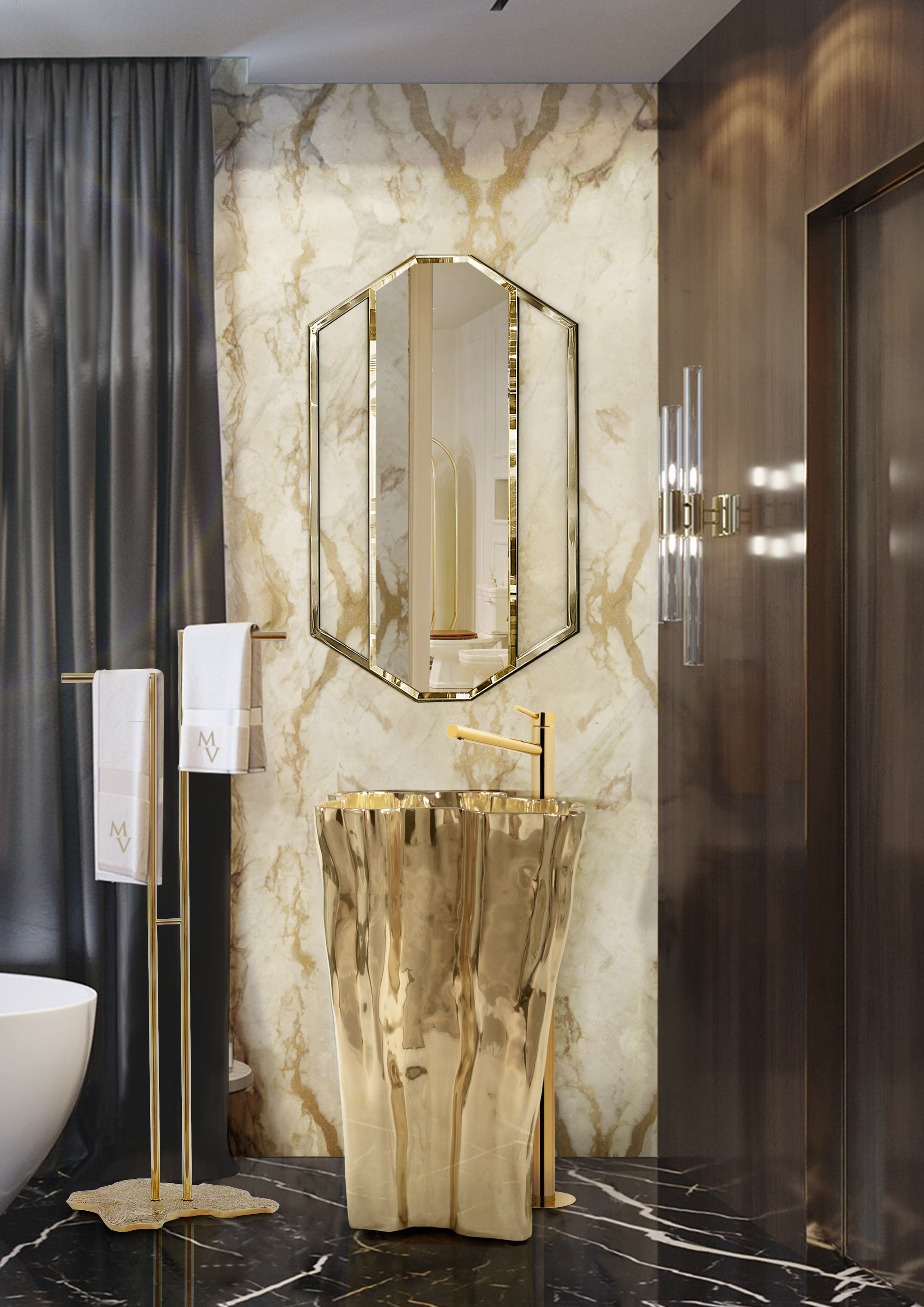 Decorating Bathroom with Golden Furniture Golden Furniture Decorating Bathroom with Golden Furniture luxury gold guest bathroom