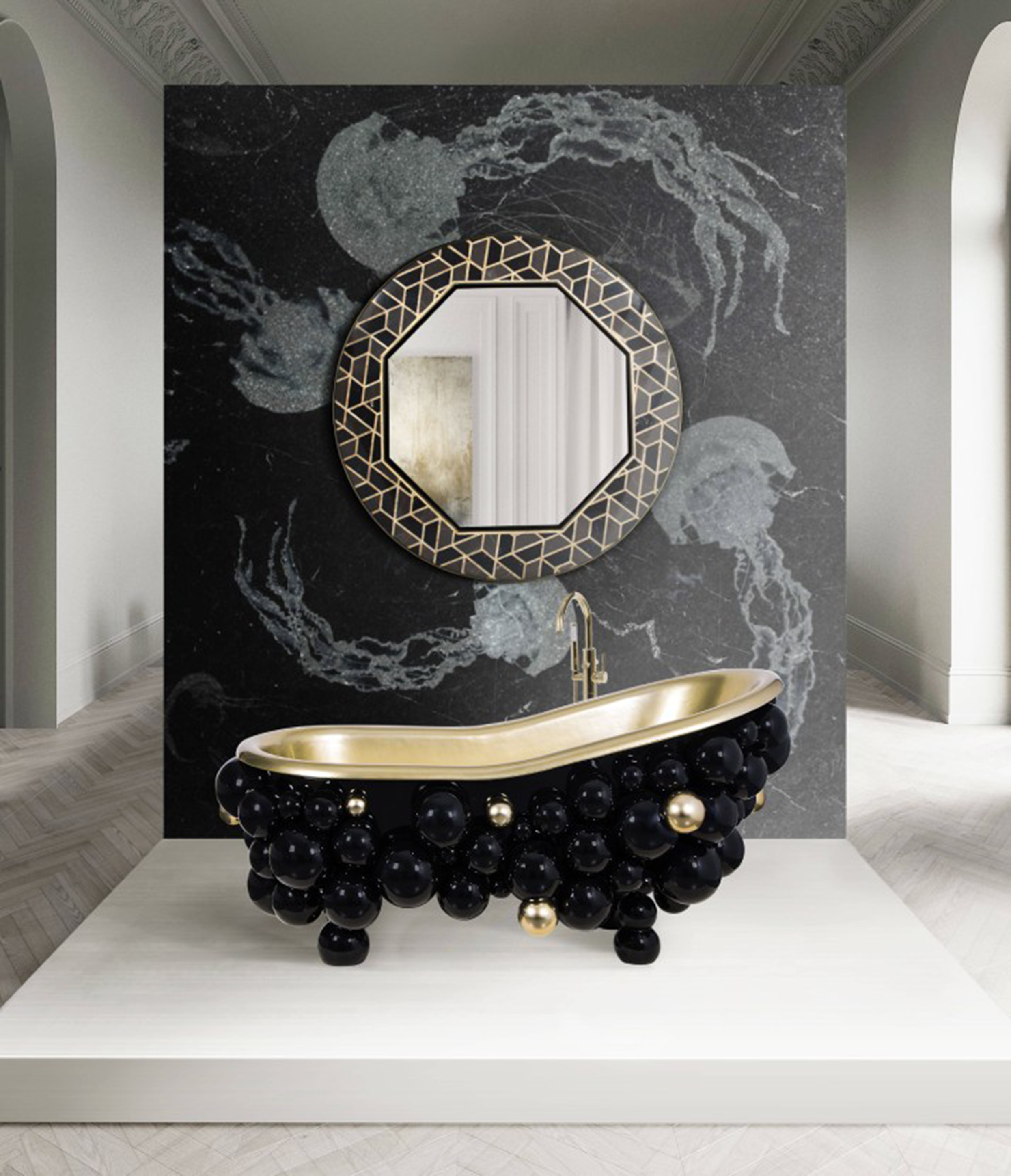New Level of Luxury: Sumptuous Surfaces surfaces New Level of Luxury: Sophisticated Surfaces a sophisticated private oasis with the tortoise mirror and the newton bathtub 1