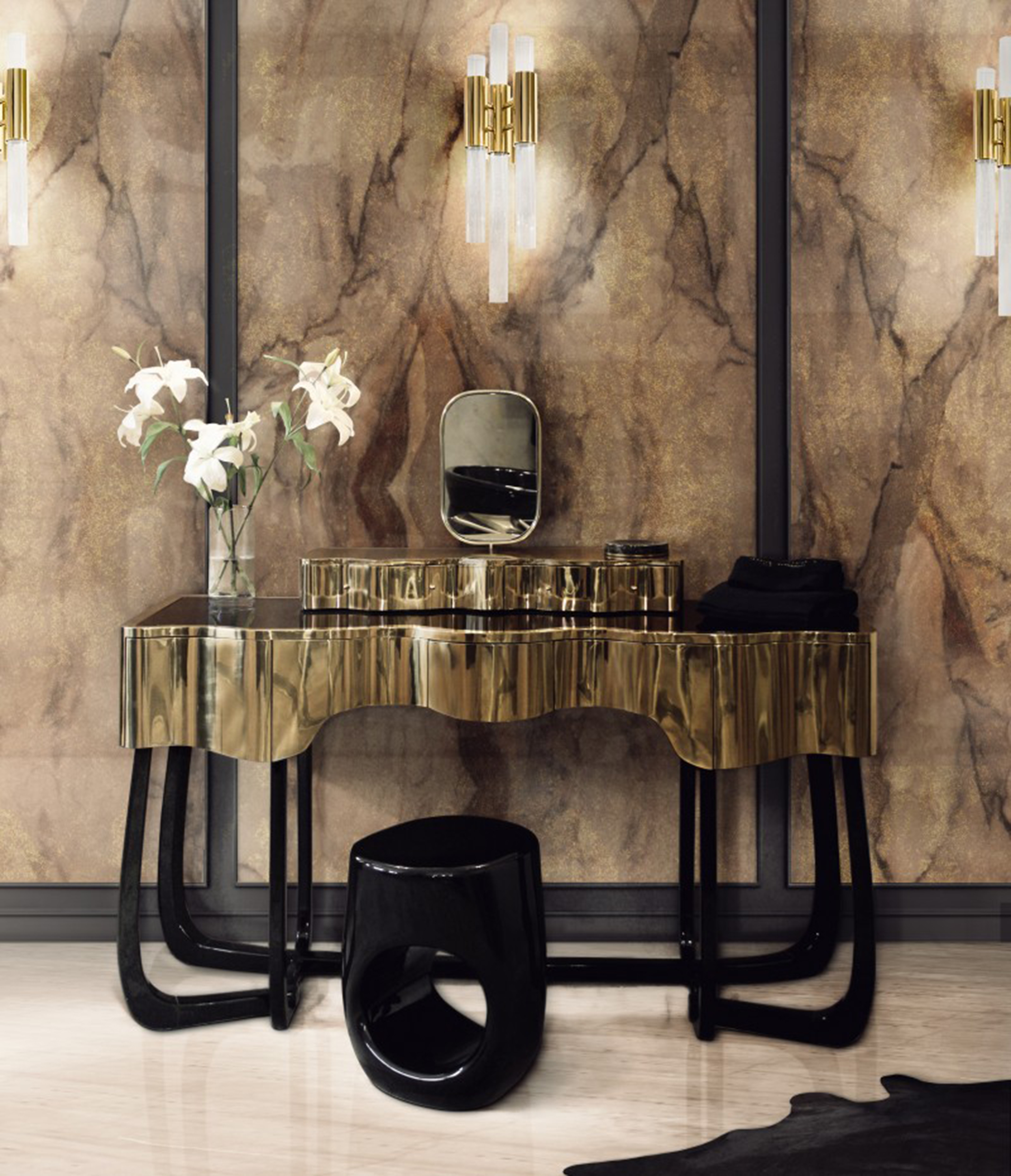 New Level of Luxury: Sumptuous Surfaces surfaces New Level of Luxury: Sophisticated Surfaces extraordinary sinuous dressing table bronze rust surface 1