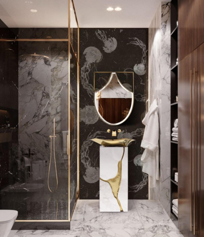 New Level of Luxury: Sumptuous Surfaces surfaces New Level of Luxury: Sophisticated Surfaces small harmonious bathroom with lapiaz freestanding and koi mirror 1