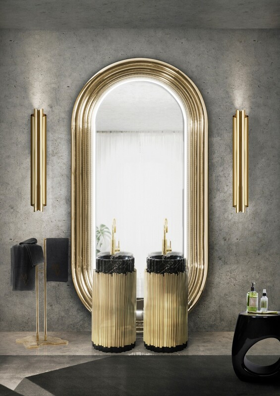 Gold Bathrooms: The Most Shining Designs gold bathrooms Gold Bathrooms: The Most Shining Designs a modern and classic bathroom with the symphony freestand 1
