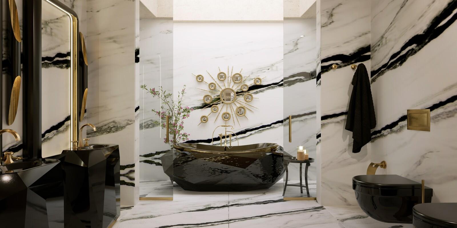 Gold Bathrooms: The Most Shining Designs gold bathrooms Gold Bathrooms: The Most Shining Designs master bathroom with diamond bathtub and diamond freestandings 1